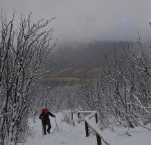 mozolnie , w śniegu pod górę