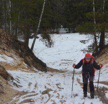 od koryta rzeki wysoka skarpa wracamy na skraj lasu