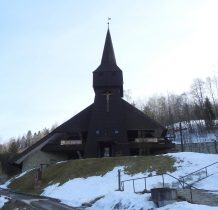 kościół ze zrekonstruowana wieża z 1575 r przeniesiona z Połomi