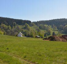 w oddali kościół we Wrzosówce-będziemy wracać z Borówkowej obok niego