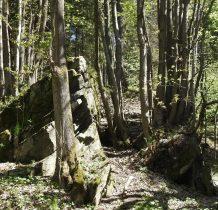 grupy potężnych skał po obu stronach drogi