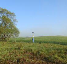 w okolicach wioski w polach przydrożny krzyż