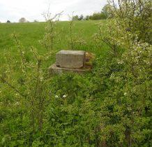 po kilkudziesięciu metrach na skraju-widoczne pozostałości kamienne po krzyżu